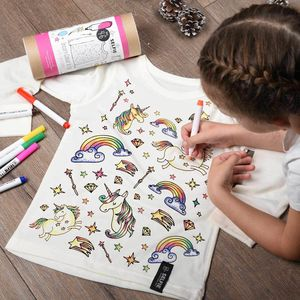Personalised Unicorn Colour In Top With Fabric Pens - sale