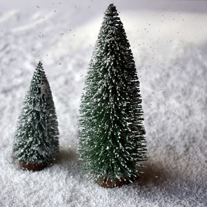 Set Of Two Snowy Bottle Brush Christmas Trees - table decorations