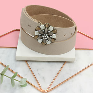 Nude Leather Personalised Ladies Floral Gem Belt