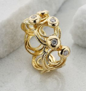 Wide Swirly Gold And Diamond Ring - rings
