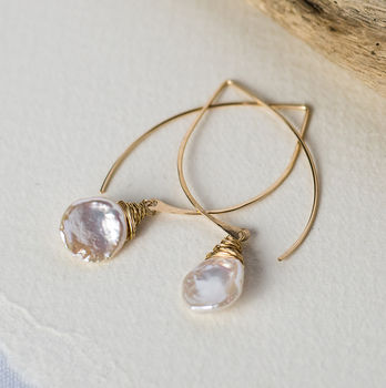 Keshi Pearl Long Hoops