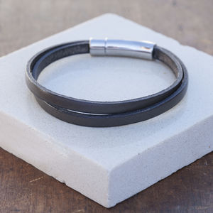 Grey Mens Leather Wrap Bracelet