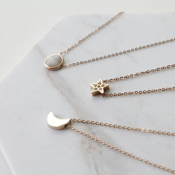 Sun Moon Star Rose Gold Necklace