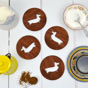 Wooden Dachshund Sausage Dog Coasters