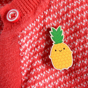Happy Kawaii Pineapple Wooden Brooch