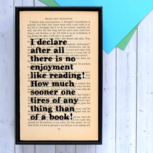 Literary Pride And Prejudice Quote Print - literature