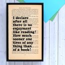 Literary Pride And Prejudice Quote Print