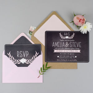 Dusky Romance Wedding Invitation And RSVP - save the date cards