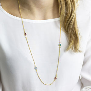 Gold Long Family Birthstone Necklace