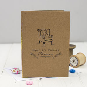 Third Wedding Anniversary Card Leather