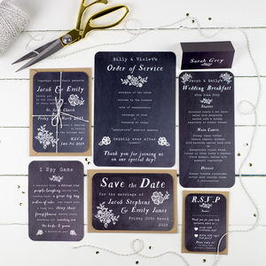 Chalkboard Wedding Stationery Range - save the date cards