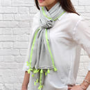 Lime trim personalised contrast tassel scarf