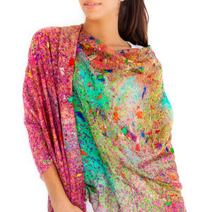 Ladies Scarf And Sarong Glitter Print - women's fashion