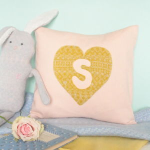Personalised Heart Linen And Knitted Cushion - new in baby & child