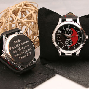 Engraved Wrist Watch Black And Red - men's accessories