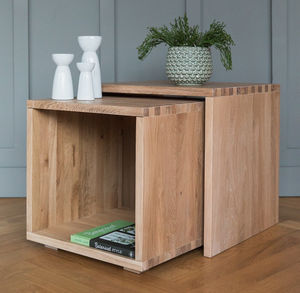 Malmo Solid Oak Nesting Cube Coffee Tables
