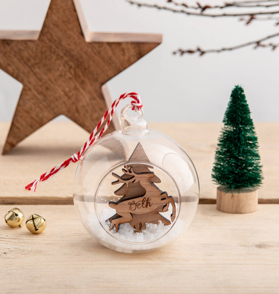 Personalised Christmas Reindeer Glass Bauble