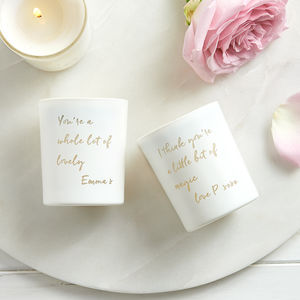 Personalised Mini Message Candle - just because gifts