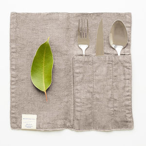 Linen Cutlery Pockets Natural