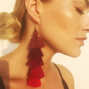 Tassel Earrings In Chilli Pepper - earrings