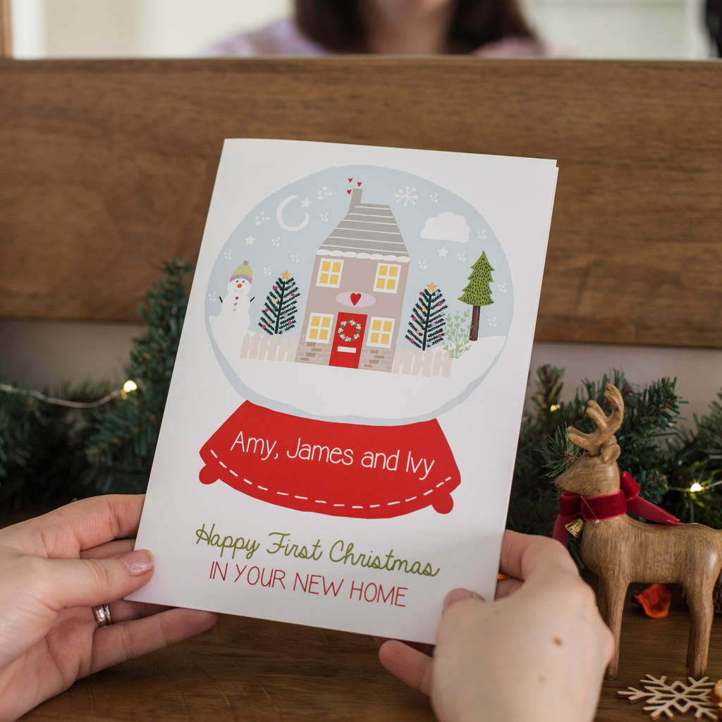 personalised happy first christmas in new home card by rosefinch ...