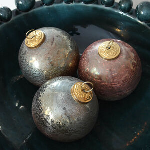 Six Green And Bronze Aged Glass Baubles