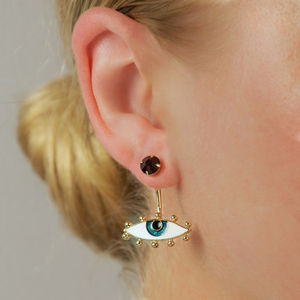 Evil Eye Talisman Ear Jacket Earrings