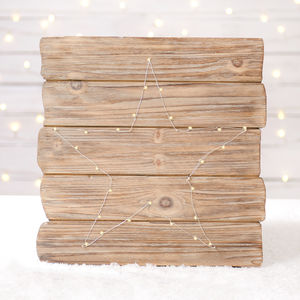 Fairy Light Driftwood Wall Plaque - christmas home