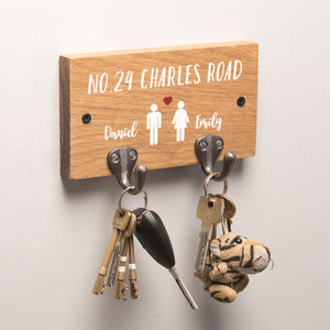 Personalised Couples Oak Key Holder - housewarming gifts