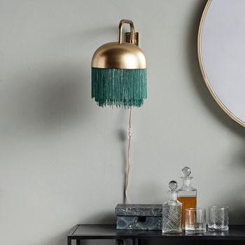 Gold And Emerald Fringed Wall Light