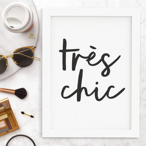 'Tres Chic' Typography Print - winter sale