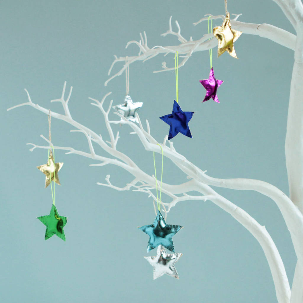 4x colourful christmas star tree decorations