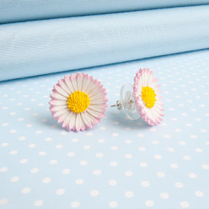 Lawn Daisy Stud Or Clip On Earrings - earrings
