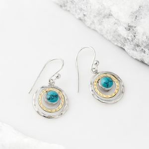 Infinity Universe Turquoise Mixed Metal Drop Earrings