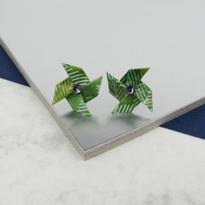 Folliage Pinwheel Studs Greenery Earrings