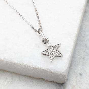 18ct White Gold And Diamond Set Star Necklace