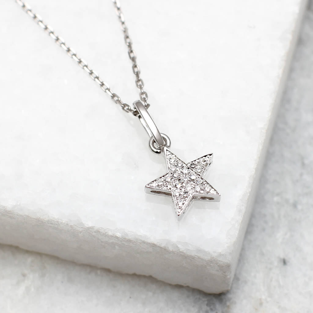 18ct white gold and diamond set star necklace by hurleyburley 18ct white gold and diamond set star necklace aloadofball Choice Image