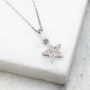 18ct White Gold And Diamond Set Star Necklace - diamonds