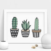 Cactus Print Illustrated Set - prints & art