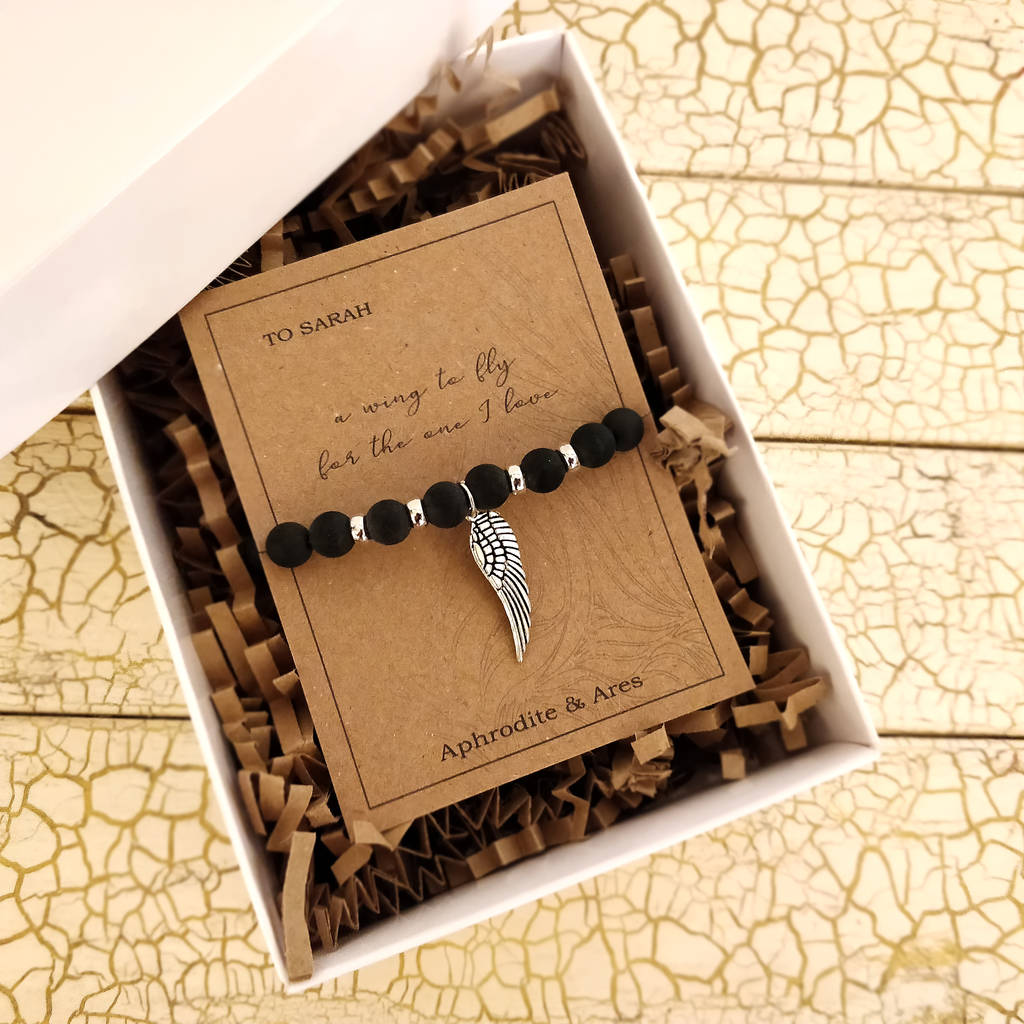 'A Wing To Fly' Personalised Black Agate Bracelet