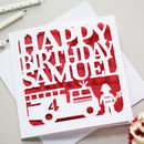Personalised Fire Engine Birthday Card