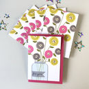 Set Of Six Flower Vase Notecards / Thank You Cards