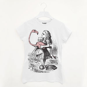 Alice And Flamingo Women's Alice In Wonderland T Shirt - winter sale