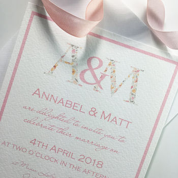 Floral Initials Wedding Invitation