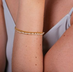 Pearl And Vermeil Graduated Row Bracelet
