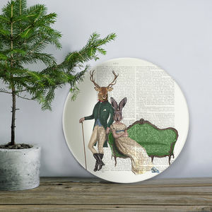 Deer And Rabbit Bone China Plate - tableware