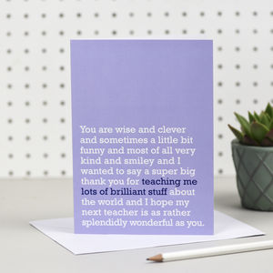 'Lots Of Brilliant Stuff' Teacher Card - teacher cards