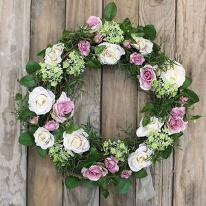 Summer Rose Floral Wreath - flowers & plants
