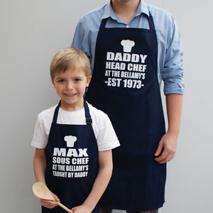 Personalised Mummy/Daddy And Me Apron Set - gifts for him
