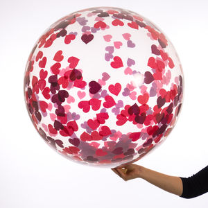 Ruby Red Giant Heart Confetti Filled Balloon - adults birthday